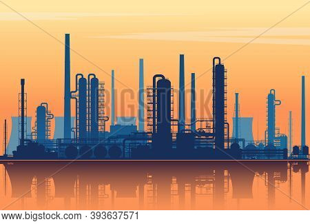 Oil Refinery Silhouette On Sunset Background. Vector Illustration.