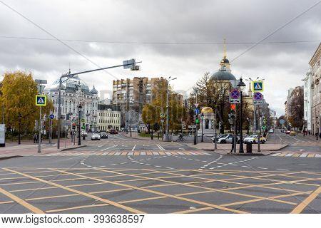 Moscow, Russia - Novmber 07, 2020: Crossing Pedestrian, Zebra Crossing, Bolshaya Nikitskaya, Nikitsk