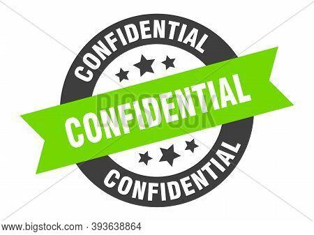 Confidential Sign. Confidential Black-green Round Ribbon Sticker