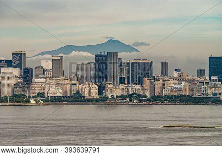 Rio De Janeiro, Brazil - December 22, 2008: Gray Water Of Guanabana Bay With Office Towers Skyline O