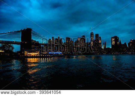11/8/2020 - Brooklyn, Ny: A Landscape View Of The Brooklyn Bridge As Well As New York City.