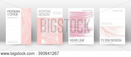 Cover Page Design Template. Minimal Brochure Layout. Classic Trendy Abstract Cover Page. Pink And Bl