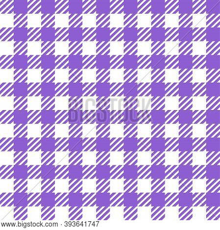 Violet White Gingham Lumberjack Buffalo Tartan Checkered Plaid Seamless Pattern. Texture For Fabric,
