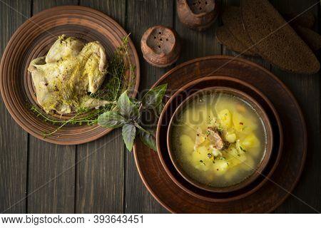 Wild Partridge Meat On Kitchen, Cooking Gourmet Wild Game Bird. Healthy Diet Recipe. Soup. Top View