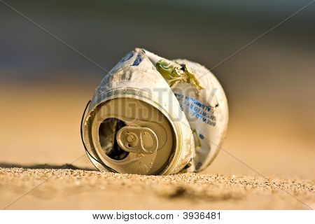 Trash Can On The Beach