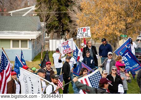Helena, Montana / Nov 7, 2020: Trump Supporters Protest At Stop The Steal Rally Against Joe Biden Be