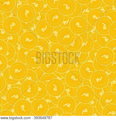 Indian Rupee Coins Seamless Pattern. Exquisite Scattered Inr Coins. Big Win Or Success Concept. Indi