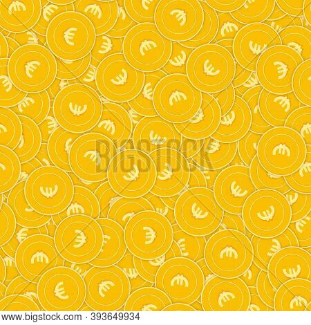 European Union Euro Coins Seamless Pattern. Wonderful Scattered Eur Coins. Big Win Or Success Concep