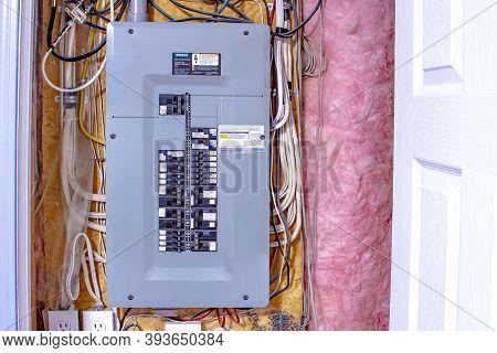 Calgary, Alberta. Canada. Nov. 7, 2020. A House Siemen Electrical Panel On The Basement.