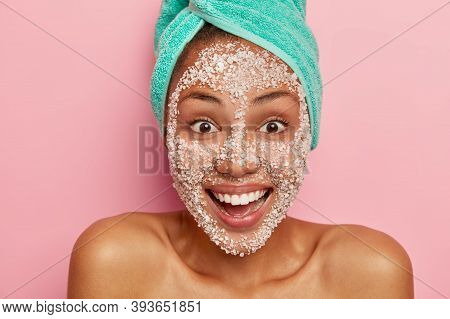 Cropped Image Of Joyous Dark Skinned Woman Smiles Positively Has Brows Eyes, Well Cares Body Skin, W