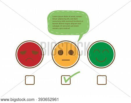 Tick On Fairly Face And Speech Bubble For Complain To Show Moderately Feedback Rating Of Customer Se