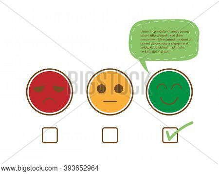 Tick Sign On Happy Smile Face With Speech Bubble For Complain, Good Feedback Rating Positive Custome