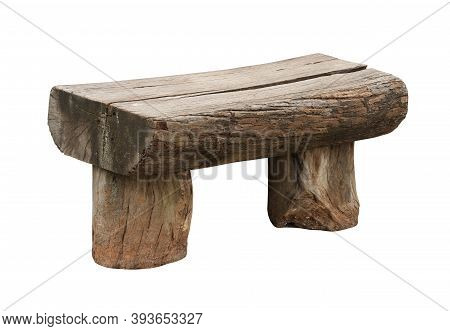 Garden Bench Weathered Timber Chair (with Clipping Path) Isolated On White Background