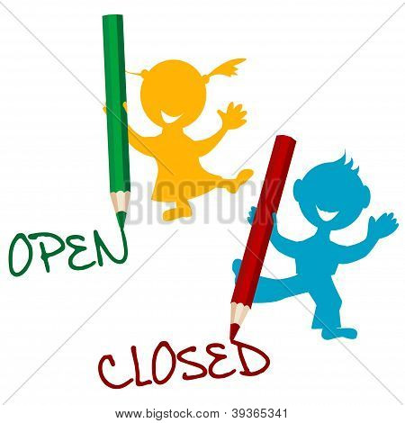 Open And Closed Announcement With Children