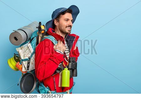 Travel Lifestyle Concept. Happy Unshaven Man Leads Active Lifestyle, Likes Travelling And Exploring