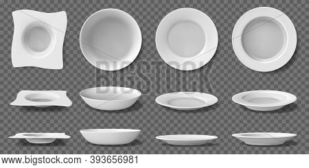 White Realistic Plates. Porcelain Household Kitchenware, Dishes And Bowls, 3d Ceramic Dining Tablewa