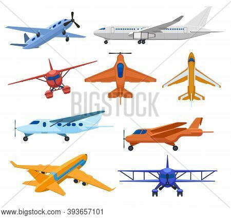 Aircraft Jets. Flight Vehicles, Passenger Jet Airplane, Private Aircraft And Cargo Service Plane. Co