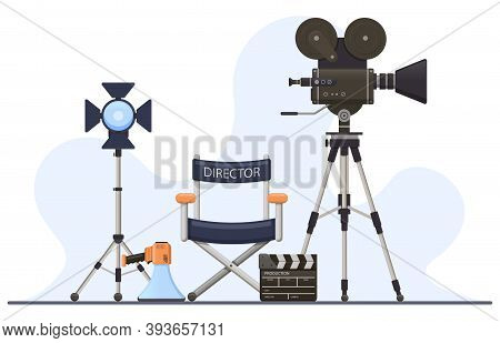 Director Film Sets. Movie Camera, Director Chair, Megaphone And Clapperboard, Film Director Cinema C
