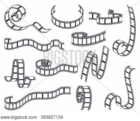 Curved Film Strip. Cinema Monochrome Movie Or Photo Tape, Strip Roll Border Fragments. Vintage Curve