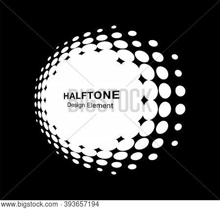 White Halftone Circle Perspective Frame Abstract Dots Logo Emblem Design Element For Technology, Med