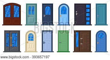 Entrance Doors. Wood Doorway, Closed Doors With Glass Panels And Metal Handles, House Entrance. Buil