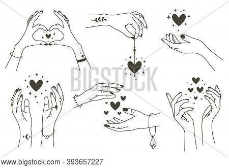 Magic Hands With Hearts. Boho Linear Style Mystical Hand, Hand Drawn Arms With Magic Heart. Magical