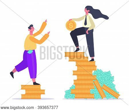 Salary Inequality. Gender Gap, Economic Classes Inequality, Male And Female On Money Stack. Social D