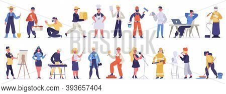 Different Professions And Occupations. Professional Workers In Uniform, Doctor, Teacher, Chef And It