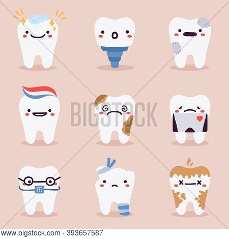 Cute Teeth Mascots. Dental Teeth Characters With Dentistry Problems, Treatments, Tooth Healthcare An