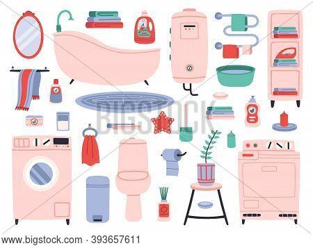 Bathroom Interior. Bath Tools, Toilette Utensils, Bathtub, Toilet, Washer And Dryer. Bathroom Interi