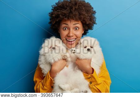Horizontal Shot Of Curly Joyous Woman Holds Tightly Two Pedigree Puppies With White Fur, Enjoys Pres