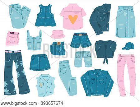 Denim Clothes. Blue Jean Garments, Denim Shirt, Jacket, Shorts And Jeans Pants, Denim Casual Clothes