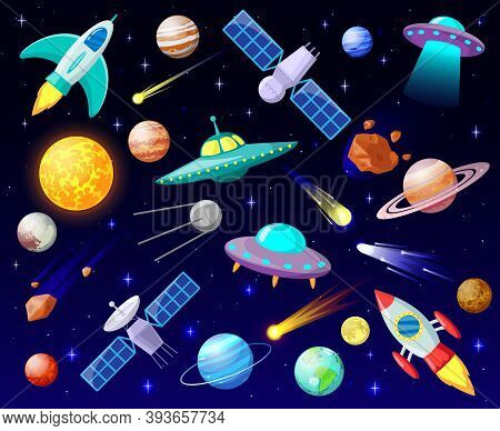 Cartoon Open Space. Planets, Cosmic Celestial Bodies, Rockets, Spaceships And Ufo, Astronomy Stars,