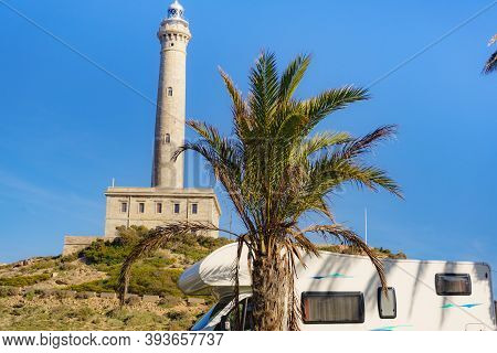 Camper At Cape Palos Lighthouse, Spain