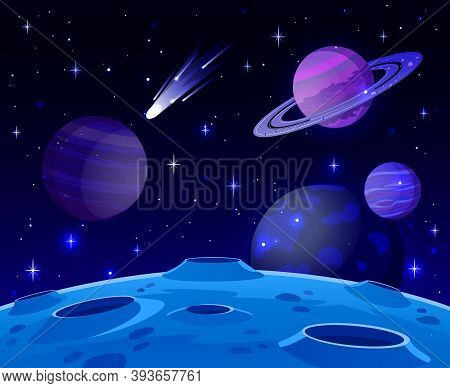 Cartoon Space Landscape. Cosmic Planet Surface, Futuristic Celestial Bodies Landscape, Galaxy Stars