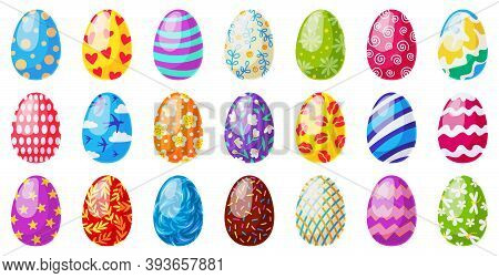 Cartoon Easter Eggs. Spring Holiday Chocolate Egg, Traditional Ornament Egg Decoration, Colorful Eas