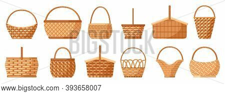 Wicker Baskets. Picnic Willow Baskets, Empty Straw Hampers, Decorative Wicker Baskets With Handle. P