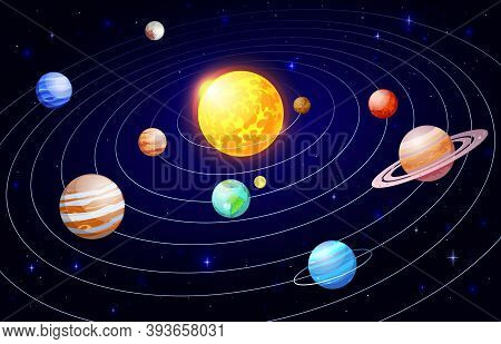 Cartoon Solar System. Orbit Astronomy Space Scheme, Galaxy Celestial Bodies And Planets Satellites,