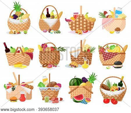 Picnic Baskets. Wicker Willow Picnic Baskets With Bread, Fruits, Vegetables And Wine. Straw Basket F
