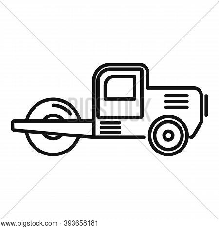Danger Road Roller Icon. Outline Danger Road Roller Vector Icon For Web Design Isolated On White Bac
