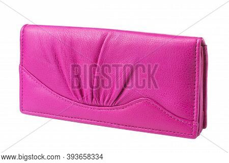 Punchy Pink Womens Purse On A White Background