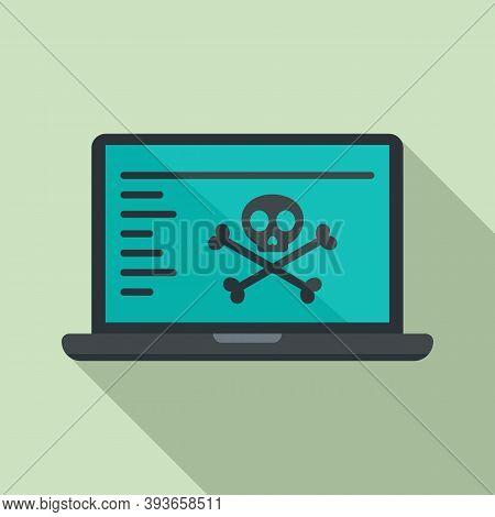 Hacked Laptop Icon. Flat Illustration Of Hacked Laptop Vector Icon For Web Design