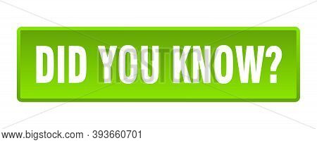 Did You Know Button. Did You Know Square Green Push Button