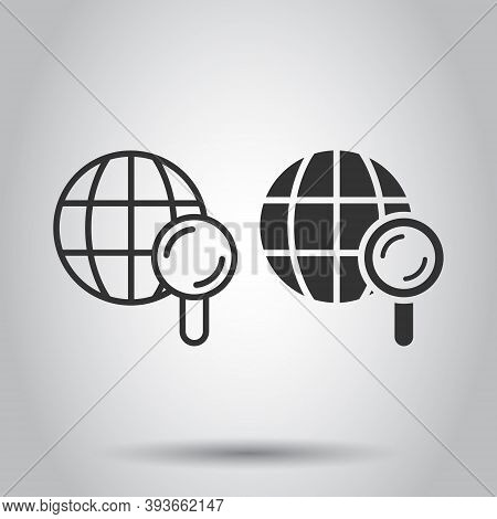 Globe Search Icon In Flat Style. Network Navigation Vector Illustration On White Isolated Background
