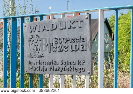 Tczew, Poland - June 26, 2020: Information Board About Viaduct Named After The Marshal Of The Sejm O