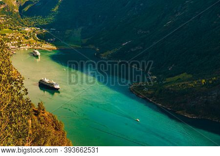 Geiranger, Norway - July 29, 2018: Cruise Ship On Fjord Geirangerfjord In Norwegian Tourist Destinat