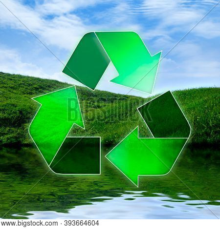 Conceptual Recycling symbol over three elements Water, Earth and Air. Environment and ecology concept.