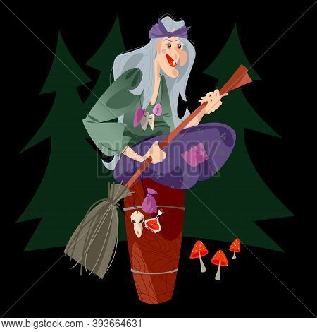 Baba Yaga (old Witch From Slavic Folklore) With A Broom In Her Hands Sitting On A Large Wooden Morta