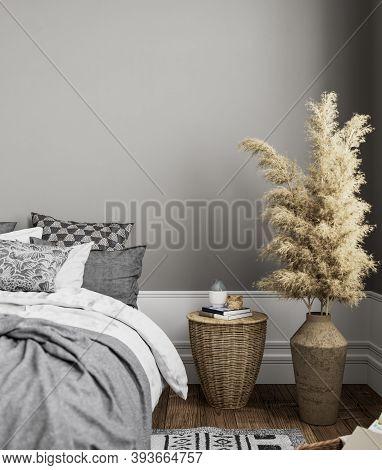 Gray Bedroom Interior With Decor. 3d Render Illustration Mock Up.