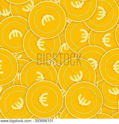 European Union Euro Coins Seamless Pattern. Valuable Scattered Eur Coins. Big Win Or Success Concept